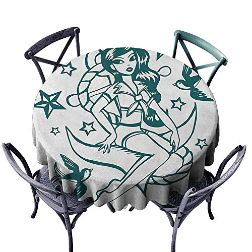 G Idle Sky Anchor Fabric Dust-Proof Table Cover Pin-up Girl Nautical Sailor Suit Surrounded by Swallow Birds Stars Hand Drawn Great for Buffet Table D55 Dark Blue White]()