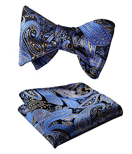 SetSense Men's Paisley Jacquard Wedding Party Self Bow Tie Pocket Square Set Blue / Yellow
