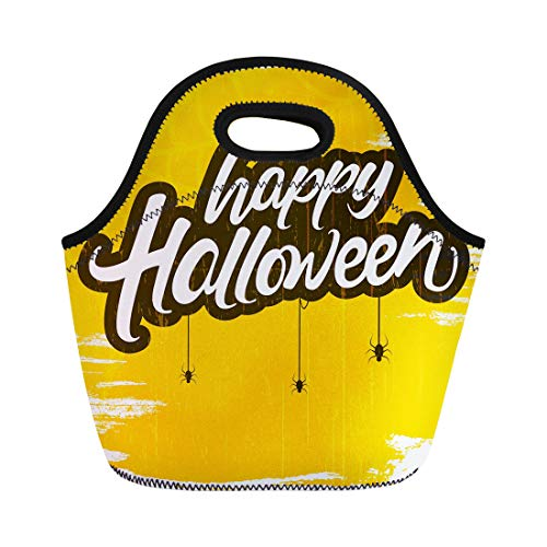 Semtomn Lunch Tote Bag Ghost Happy Halloween Text on Grungy Retro Hanging Spiders Reusable Neoprene Insulated Thermal Outdoor Picnic Lunchbox for Men -