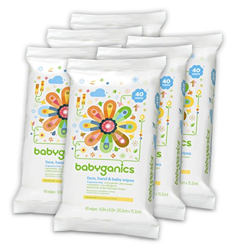 (Babyganics Face, Hand & Baby Wipes, Fragrance Free, 240 Count (Contains Six 40-Count Packs))
