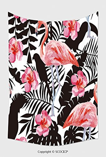Animals Wool Tapestry - Home Decor Tapestry Wall Hanging Silhouette Tropic Exotic Animals Birds Parrot In The Jungle Plant Wallpaper Seamless Floral Vector 256649056 for Bedroom Living Room Dorm