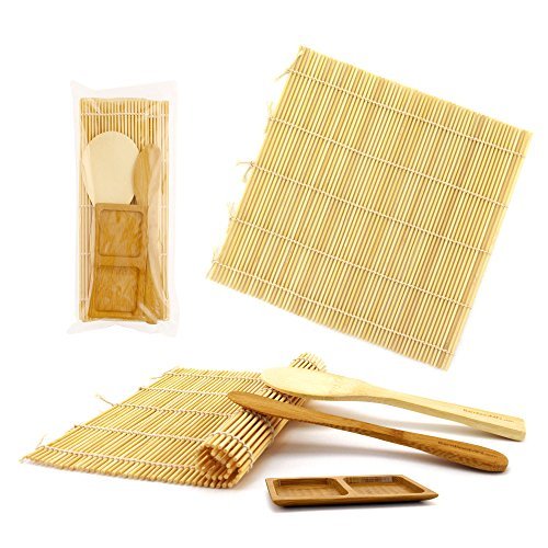 BambooMN Sushi Making Kit 3 Sets of 2x Natural Bamboo Rolling Mats, 1x Rice Paddle, 1x Spreader, 1 Compartment Sauce (Bamboo Sauce)