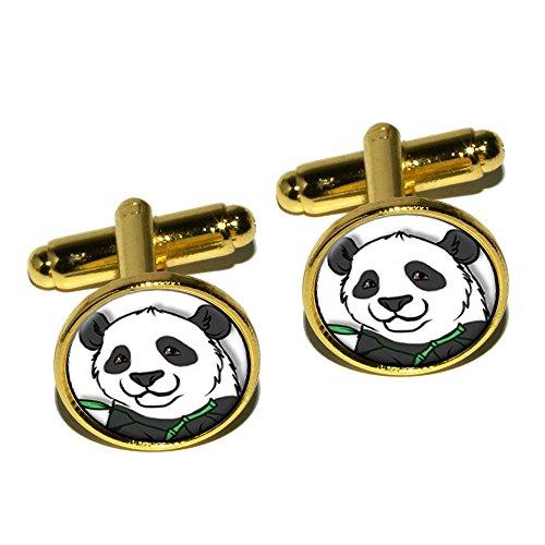 Panda Ours rond Boutons de manchette–Doré