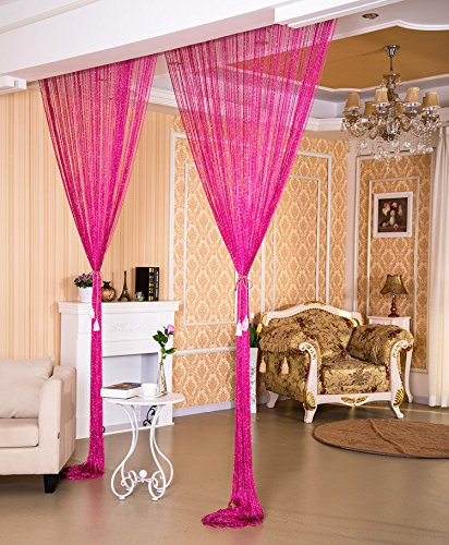WPKIRA Window Treatments Rainbow Line screens Curtain Rare Flat Silver Ribbon Door String Curtain Thread Fringe Window Panel Room Divider Cute Strip Tassel Party Events 39x78 Inch 1 Panel (String Curtain Panel)