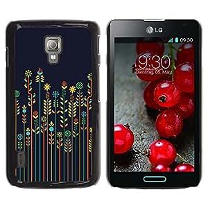 Be Good Phone Accessory // Dura Cáscara cubierta Protectora Caso Carcasa Funda de Protección para LG Optimus L7 II P710 / L7X P714 // rye crop farming floral minimalist blue