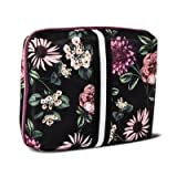Sonia Kashuk153; Cosmetic Bag Beauty Organizer Dark Floral with Webbing Black