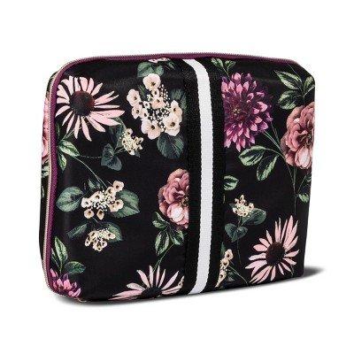 Sonia Kashuk153; Cosmetic Bag Beauty Organizer Dark Floral with Webbing Black