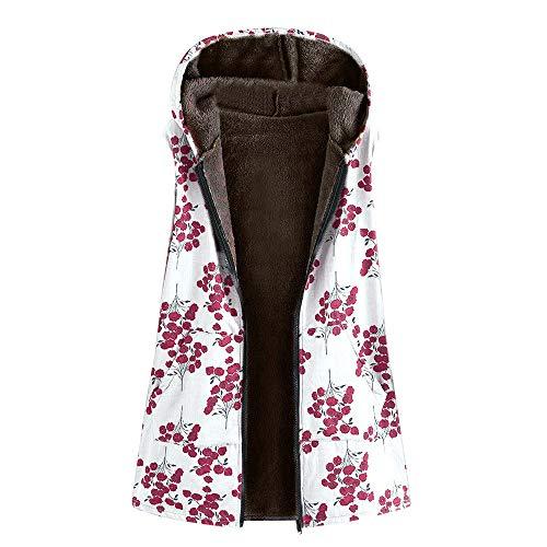 (AOJIAN Women Jacket Sleeveless Outwear Vintage Vest Floral Print Oversize Coat Waistcoat Gilet White)