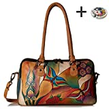 Anna By Anuschka Satchel Handbag & Purse Holder (MultiComp. Butterfly Glass Painting)