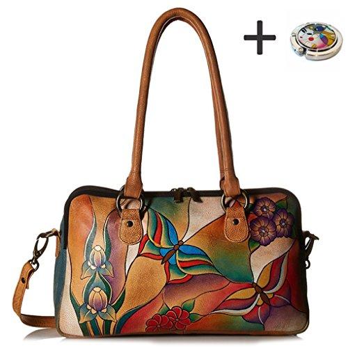 Anna By Anuschka Satchel Handbag & Purse Holder (MultiComp. Butterfly Glass Painting) by ANUSCHKA
