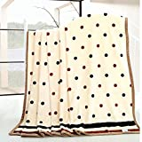Znzbzt Striped blankets hostel Single Small Bed linens coral fleece blanket is thick flannel winter low turndown ,230 x 250cm double increase, bare marriage Dot