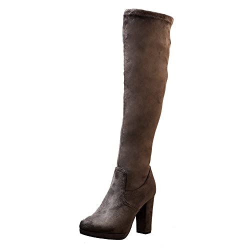 c2c847a15908 Onlineshoe Women s Elasticated Stretch Mid Heel Knee High or Over The Knee  Winter Boot - Black