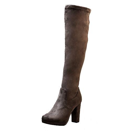 f3cfad3f577 Onlineshoe Women s Elasticated Stretch Mid Heel Knee High or Over The Knee  Winter Boot - Black
