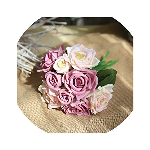 Silk Roses Wedding Bouquet for Bridesmaids Bridal Bouquet White Pink Artificial Flowers Mariage Supply Home Decoration Paramise,Light Purple