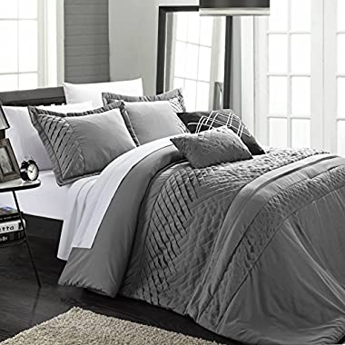Chic Home 5-Piece Carina Pleated Handmade Technique Comforter Set, Charcoal, Queen