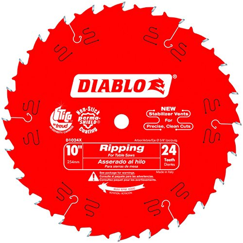 Freud D1024X Diablo 10-Inch 24-Tooth ATB Ripping Saw Blade 5/8-Inch Arbor and PermaShield Coating (4 Pack)