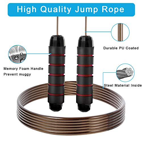 Adjustable Cable Speed Jump Rope ... Unique Moisture Absorbing Foam Handles