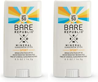 product image for Bare Republic Mineral SPF 50 Sport Sunscreen Stick. Natural Vanilla Coconut Scented Lightweight and Sheer Sunscreen Stick with SPF 50 (.5 Ounces) 2 Pack.
