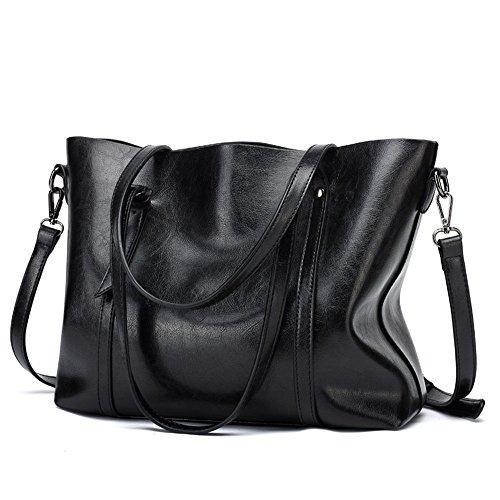 Meaeo Bolso Moda Cuero Shopping Cera Vintage Bolsos De Bag Americana Europea Y Negro De Bolso De Black Bolso wxwzq64