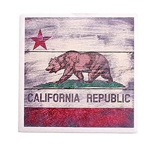 California Republic Bear Flag Ceramic Coaster