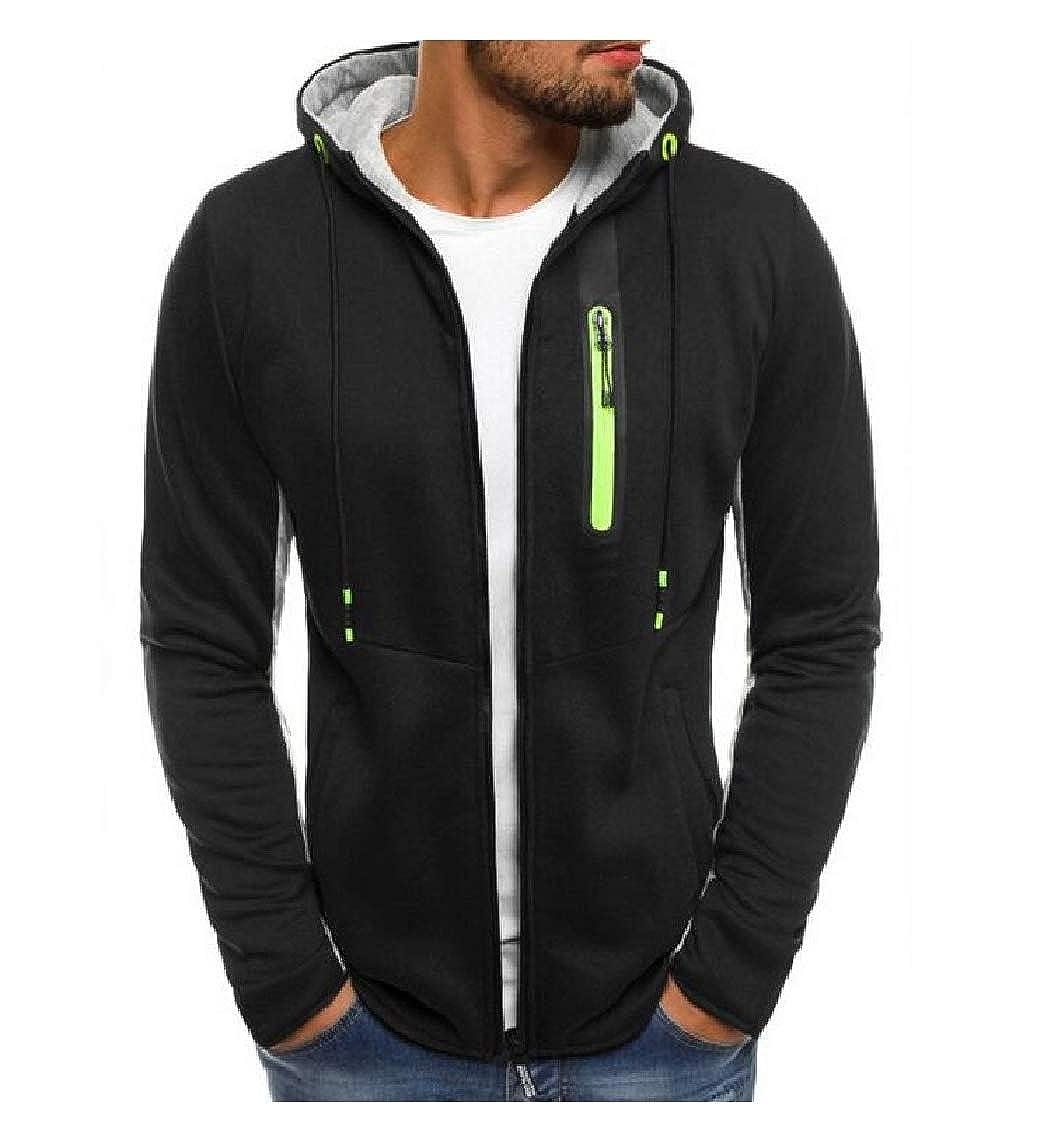 Hajotrawa Mens Slim Drawstring Coat Jacket Sport Hoodie Sweatshirts