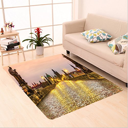et Charles Bridge and Old Town in Prague Czech Republic with Classic Medieval Buildings Gold Brown area rugs for Living Dining Room Bedroom Hallway Office Carpet (22