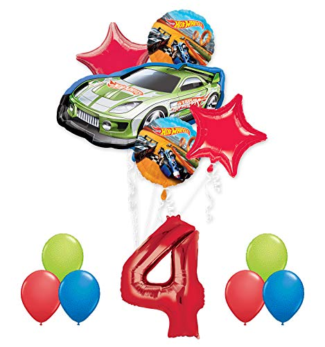 Hot Wheels 4th Birthday Party Supplies and Balloon Decorations