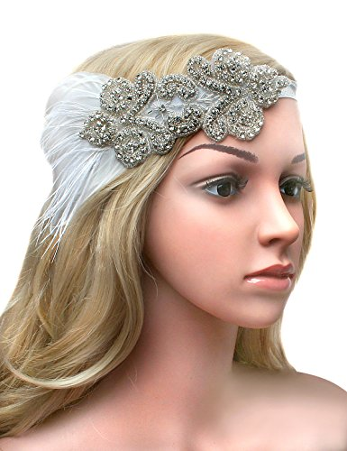 BABEYOND 1920s Flapper Headband 20s Great Gatsby Headpiece Bridal Feather Headband 1920s Flapper Gatsby Hair Accessories