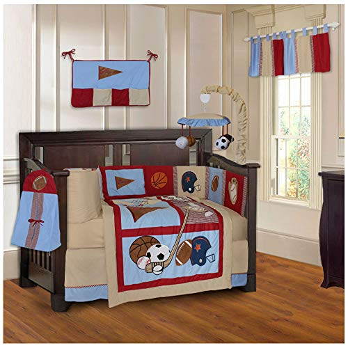 BabyFad Sports Champion 10 Piece Crib Bedding - Football Baby Mobile