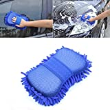 #1: Microfiber Wash Mitt Sponge Pad Cleaning Tool For Automotive Cleaning, Waxing, Polishing ,Dark blue