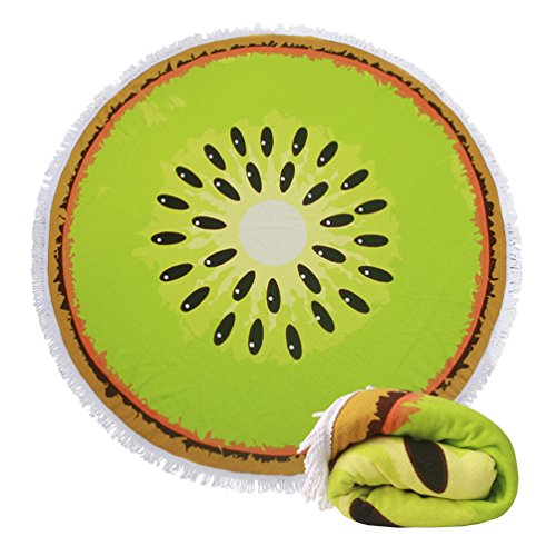 Genovega Thick Round Beach Towel Blanket - Funny Fruit Large Terry Circular Picnic Carpet