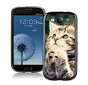 taoyix diy Provide Personalized Customized Lovely Blue Eyes Christmas Cat Black TPU Phone Case For Samsung Galaxy S3,Samsung I9300 Cases