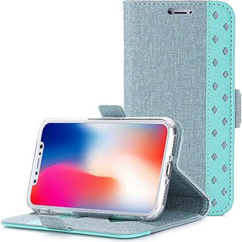 ProCase iPhone Xs Case iPhone X Case, Folio Folding Wallet Case Flip Cover Protective Case for 5.8 inch Apple iPhone Xs (2018) / iPhone X (2017), with Card Holder Kickstand -Teal