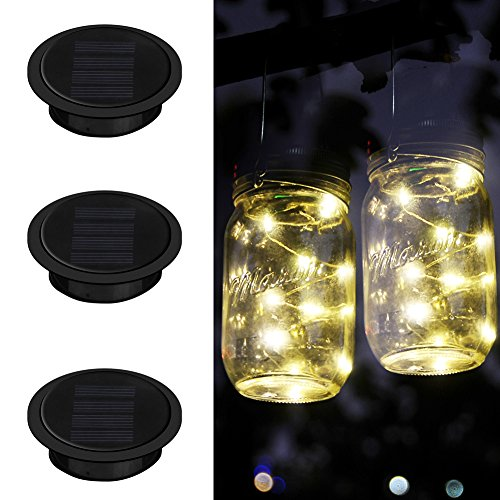 Mason Jar Lights, Upgrade iThird 3 Pack 10 LED Warm White Solar Fairy Lights Lids Insert for Garden Deck Patio Party Wedding Christmas Decorative Lighting(Jars Not Included)