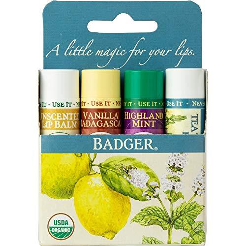 Highland Butter - Badger - Classic Organic Lip Balm Set - Unscented, Tea Tree Lemon, Vanilla Madagascar and Highland Mint - 4 Pack