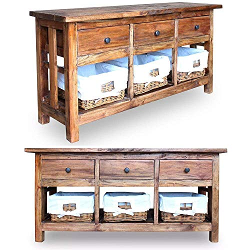 Cirocco Solid Reclaimed Wood Sideboard TV Stand Console Table Entertainment Center Dresser HiFi Cabinet Low Board w/Rattan Basket & 3 Drawer | Heavy Duty Rustic Unique Décor | for Beach House Cabin