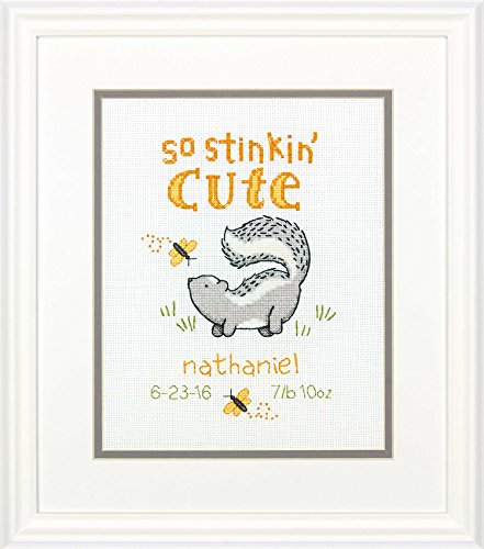 Dimensions Counted Cross Stitch Kit 'Stinkin Cute' Birth Record Personalized Baby Shower Gift, 8'' x 10'']()