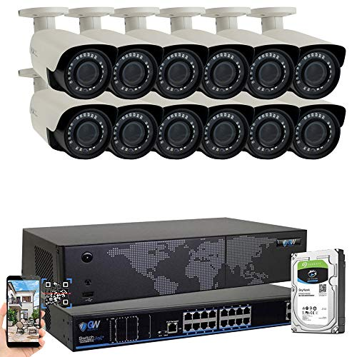 GW 16 Channel 4K NVR H.265 UltraHD 8MP 2160P IP PoE Security Camera System - 12 Outdoor/Indoor 2.8~12mm Varifocal Zoom 8.0 Megapixel 4K Camera, 120ft Night Vision, Free Remote ()