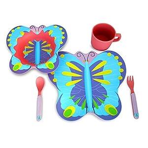 Culina® Kids bambú - Vajilla de 5 piezas, diseño de mariposa
