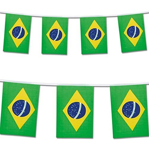 25 Brazil Flag Rio Olympics Brazilian Banner String Flags (Brazil Party Decorations)