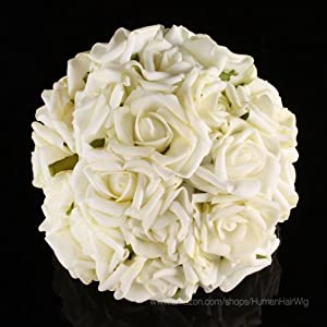 Dragonpad 20pcs Bridal Wedding Bouquets Artificial Flower KC108 Cream Ivory Head Latex Real Touch Bling Rose Flowers DIY 56