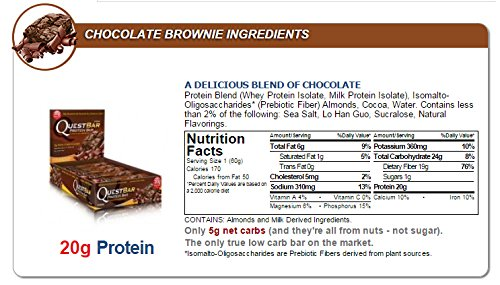 Quest Protein Bar - Chocolate Brownie - 3 Individual Bars
