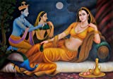 Royal Lady in the Backdrop of Radha Krishna - Oil on Canvas