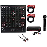 Package: American Audio 14MXR MIDI/Analog 4-Channel DJ Mixer & Controller + Rockville RWM1000VH VHF Wireless Single HandHeld Microphone System + Rockville RCDR10B 10' Nickel-Plated Dual RCA to Dual RCA Cable + (2) Rockville RCXFM20E-B Black 20 Foot Nickel Plated Female to Male XLR Microphone Cables