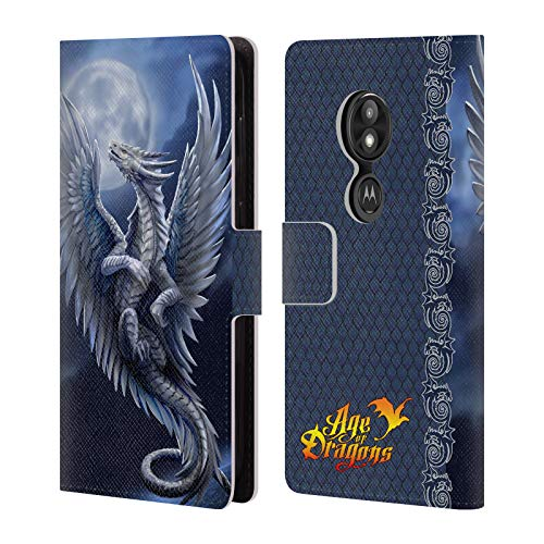 - Official Anne Stokes Silver Age of Dragons Leather Book Wallet Case Cover for Motorola Moto E5 Play
