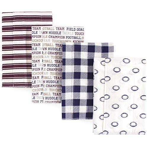 Hudson Baby Unisex Baby Cotton Flannel Burp Cloths, Football, One Size