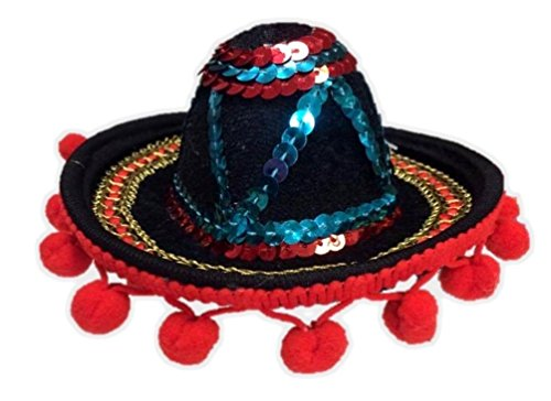 Mini Multi-Colored Sombrero Mexican Hat Headband Hot Tamale Costume (Adult Or Child Gobbler Turkey Hat)