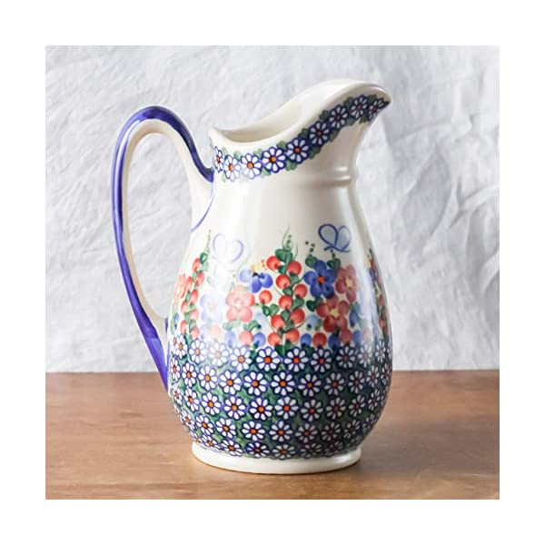 Polish Pottery, Handpainted and Handcrafted Water or Juice Jug 1.7L ― Butterflies Artistic Pattern (A001)