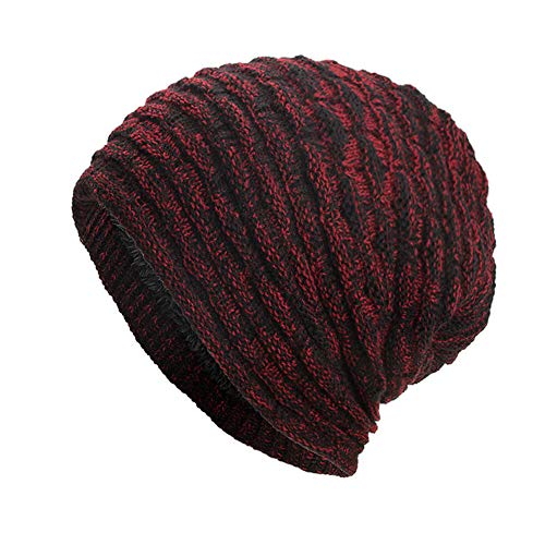 DEATU Clearance Hat Women Men Warm Baggy Weave Crochet Unisex Winter Knit Ski Beanie Skull Caps Hat (b-Red,One Size) -
