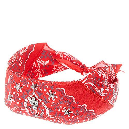 Claire's Accessories Red Rhinestone Studded Bandana (Claires Rhinestone)
